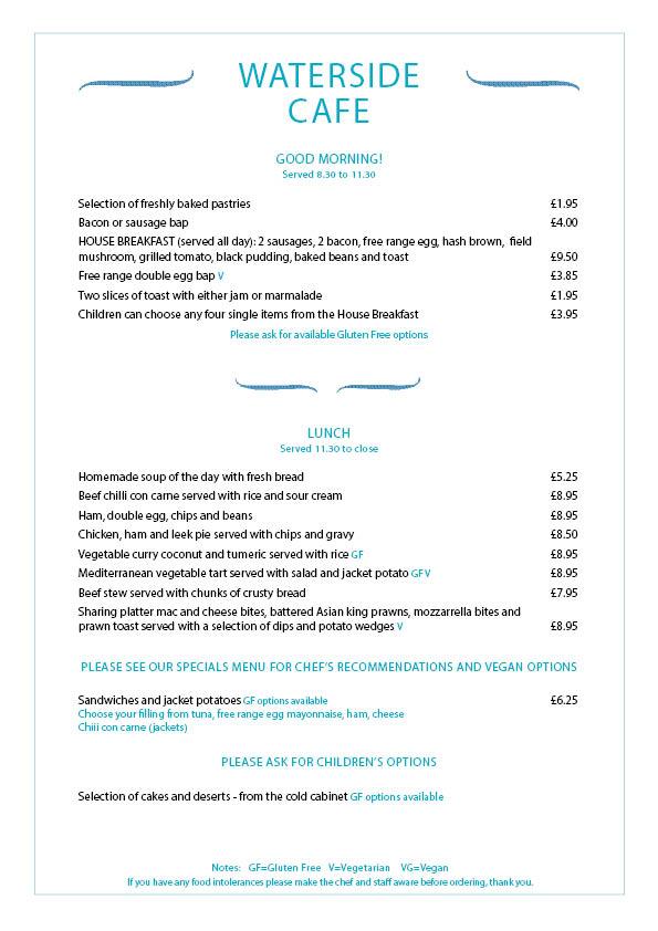 lakeside cafe lake pochard menu july 2019